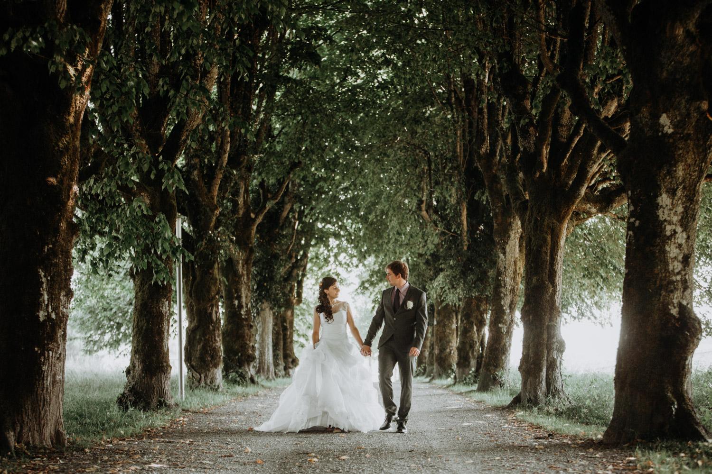 Bauernhofhochzeit Hochzeitsfotografin Schweiz Aargau Brautpaarshooting Baumallee Allee Schloss Hallwil