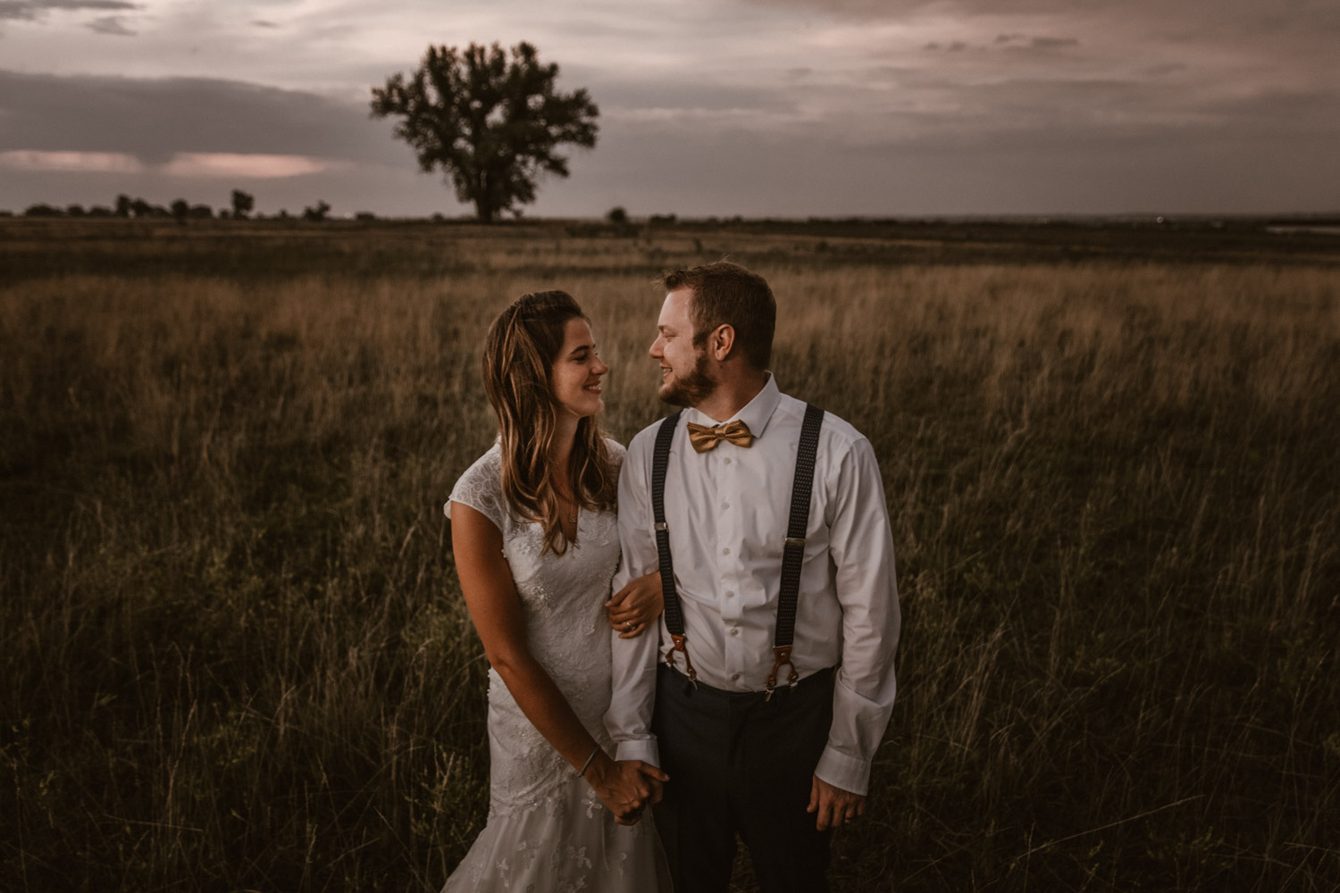 Swiss destination wedding photographer Colorado Denver Vintage Wedding bridal couple session sunset