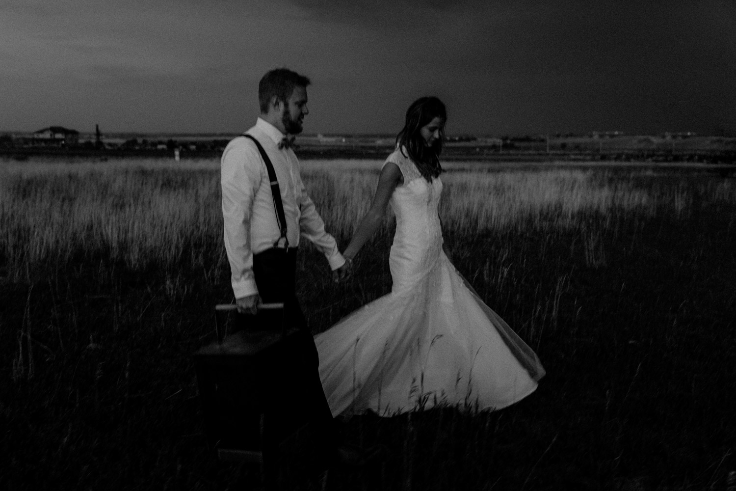 Swiss destination wedding photographer Colorado Denver Vintage Wedding bridal couple session sunset black and white