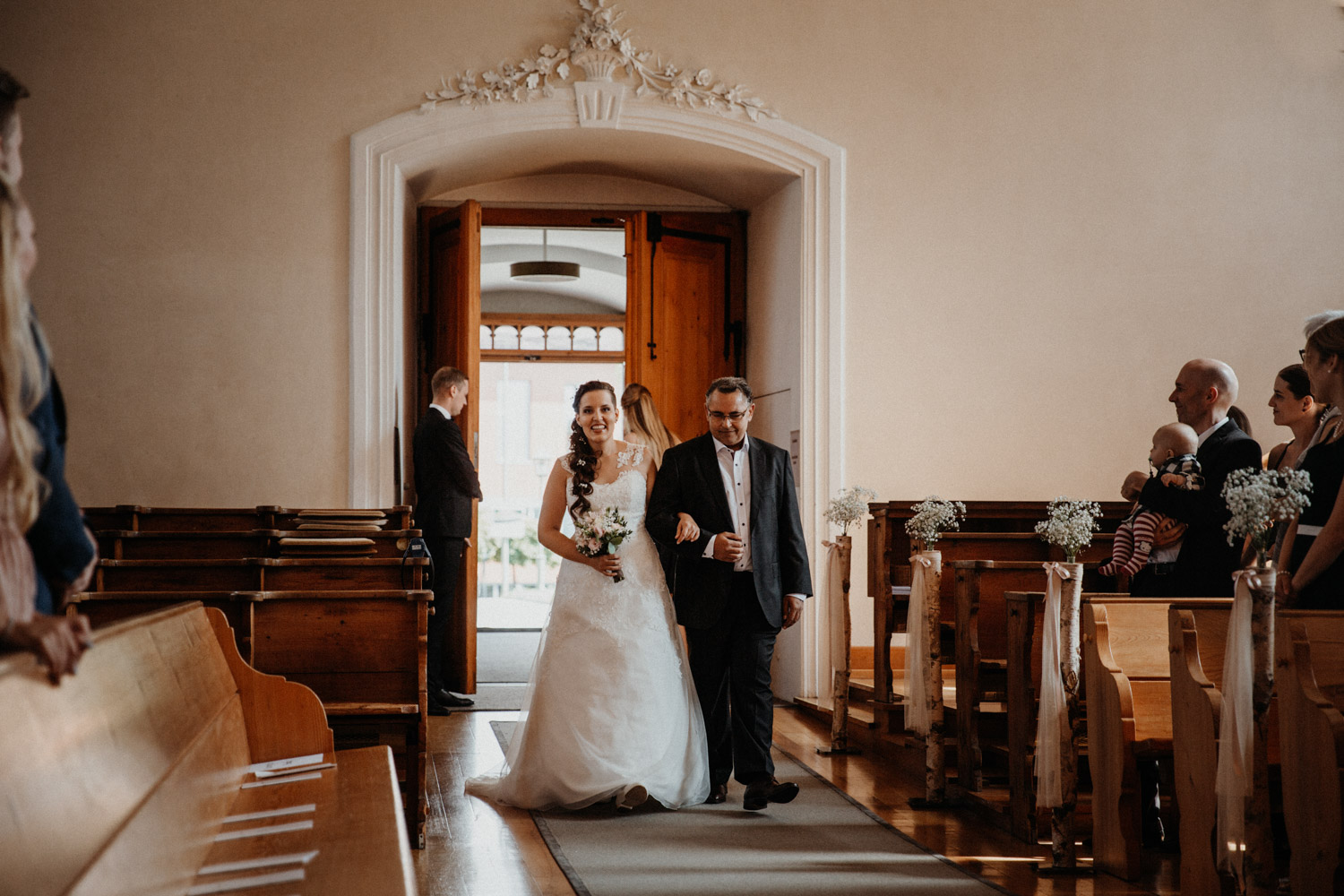 Wedding photographer in Switzerland church wedding bride father