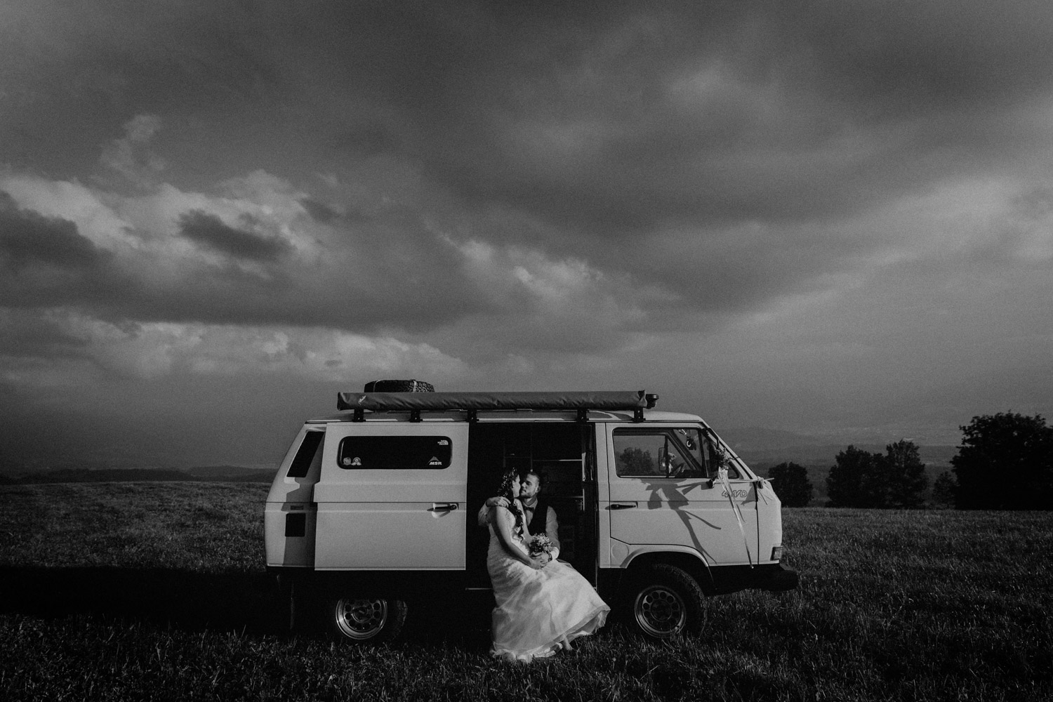 Wedding photographer in Switzerland church wedding bridal couple session hippie bus
