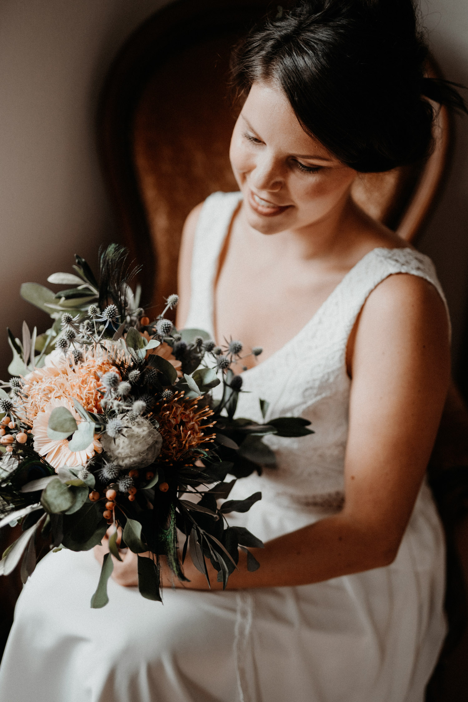 Vintage Industrial Bohemian Wedding in Switzerland wedding photographer elopement photographer getting ready bride portrait