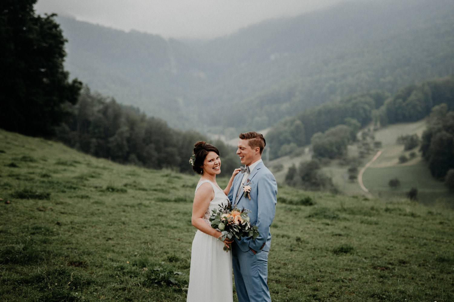 Vintage Industrial Bohemian Wedding in Switzerland wedding photographer elopement photographer getting ready bridal couple shooting swiss mountains