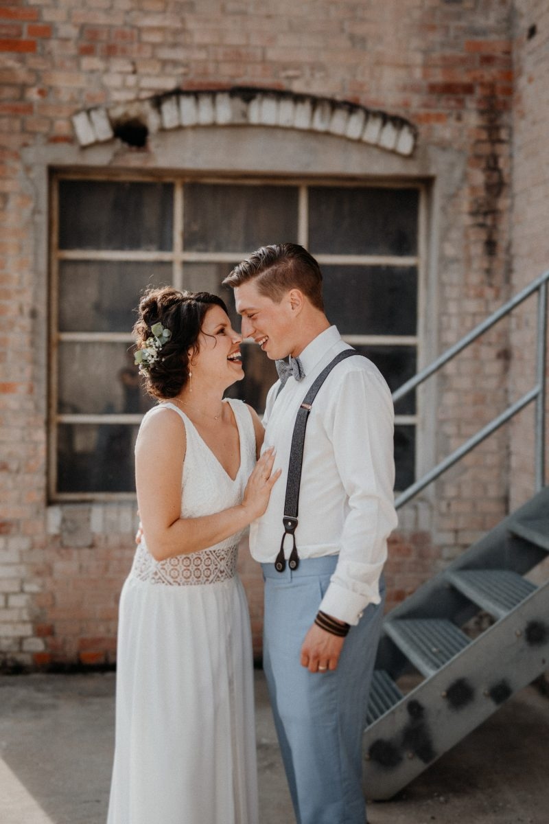 Vintage Industrial Bohemian Wedding in Switzerland wedding photographer elopement photographer location Tonwerk Lausen bridal couple shooting  unposed natural