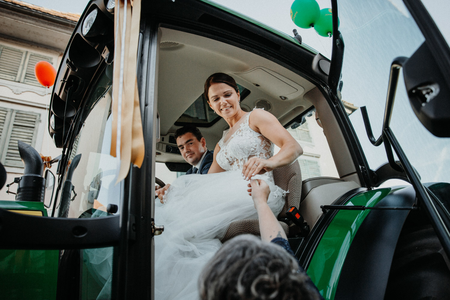 wedding photographer in St. Ursus Cathedral Solothurn Switzerland documentary style Swiss wedding photographer couple shoot portraits tractor