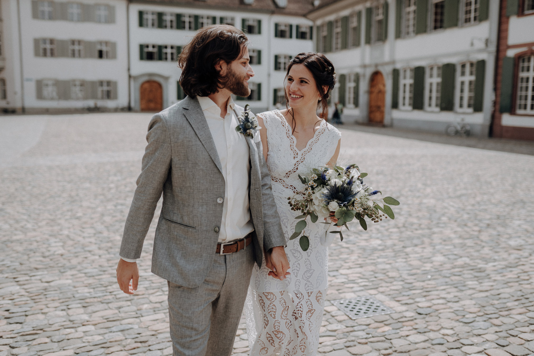 Wedding photographer switzerland basel natural unposed civil wedding old town Basel Minster